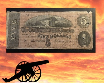 1864 Confederate Currency 5 Dollar Bill - RICHMOND VA - Rare Confederate Currency