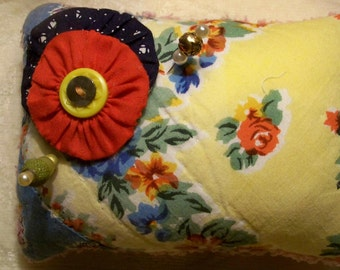 Mandevilla-Remnants Of The Past Series Up-Cycled Pin Cushion Made From A Re-Purposed Vintage Quilt Embellished With Buttons And Pins-47