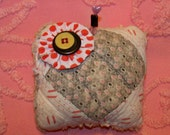 Chinese Bellflower-Remnants Of The Past Series Pin Cushions Made From Re-Purposed Antique Quilts Embellished With Buttons And Handmade Pins