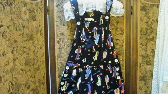 Vintage Black Background Overalls With Paper Doll