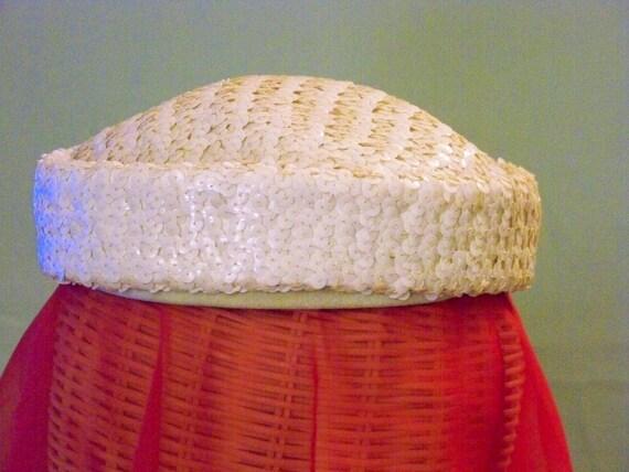 Vintage Ladies White Sequin Hat -   I. Magnin