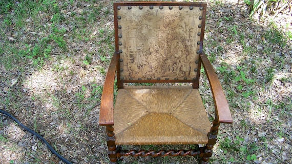 image 0 - Antique Barley Twist Fireside Chair With Antique Tapestry Etsy