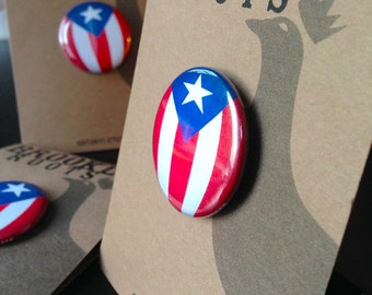 """Puerto Rican Flag """"Que Bonita Bandera!"""" 1.25"""" Button Pak / """"FREE SHIPPING!"""""""