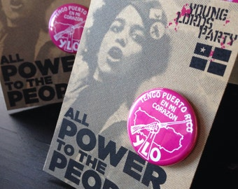 """Rebel Magenta Revolution NYC Young Lords Party 1.25"""" Replica Pin / """"FREE SHIPPING!"""""""