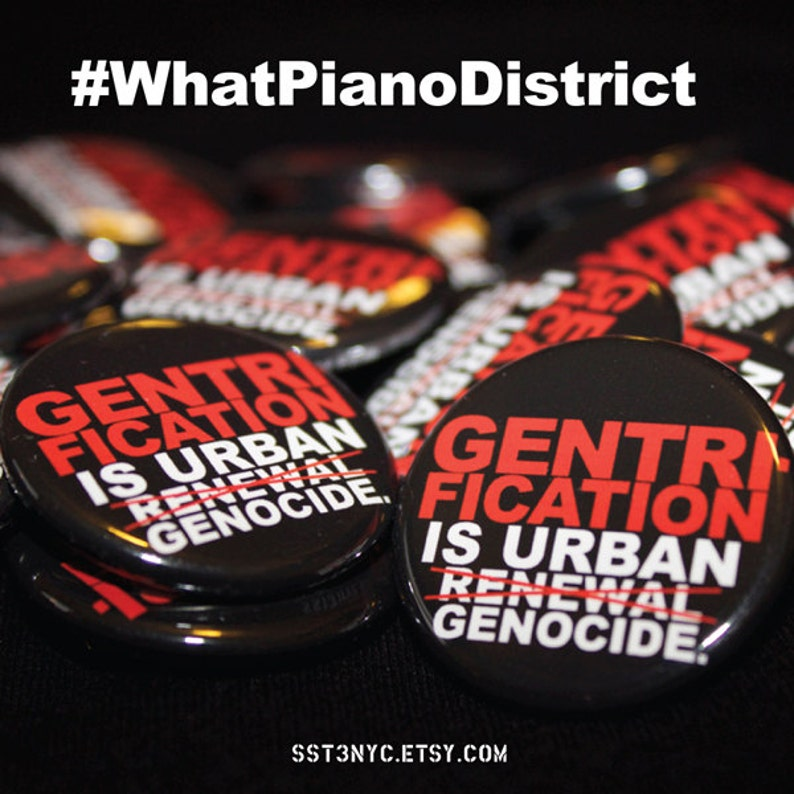 Gentrification is Urban Genocide Pin/ Button Red/Black image 0