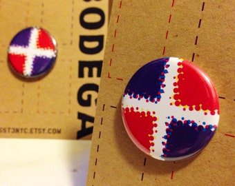 "PopArt Dominican Republic Flag 1.25"" Button Pak / ""FREE SHIPPING!"""