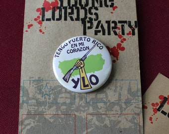 """Revolution NYC Young Lords Party 1.25"""" Replica Pin / """"FREE SHIPPING!"""""""