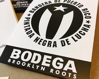 "Black Puerto Rican Flag ""Bandera de Puerto Rico pintada negra ""de Lucha"" (6) Vinyl Decals / ""FREE SHIPPING!"""