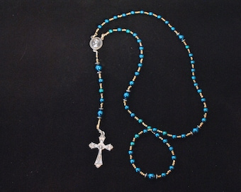 Deep Teal Catholic Rosary