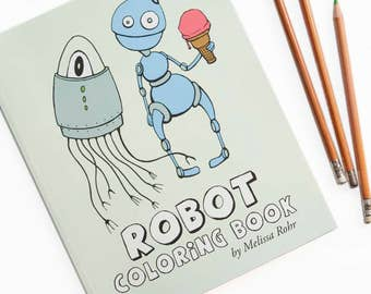 Robot coloring book | Etsy