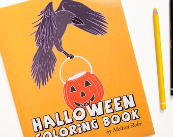 Halloween Coloring Book, Spooky & Cute Halloween Animals, Monsters and Decorations, 25 Silly Characters to Color