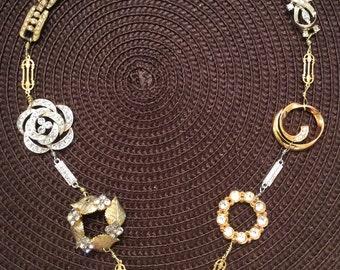 Dazzling Reworked Rhinestone Assemblage Necklace