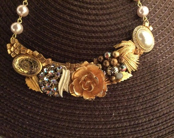 Vintage Assemblage Necklace Featuring Brooch and Earrings
