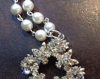 Vintage Rhinestone Pendant With Pearls