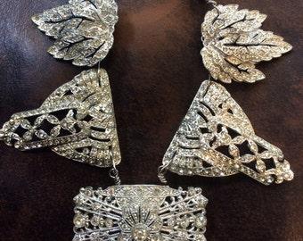 Stunning oversize Rhinestone Assemblage Necklace