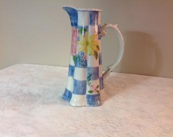 Vintage Flowered Pitcher/Vase Andrea Sadek Vase / Pitcher Spring Flowered Pitcher / Vase