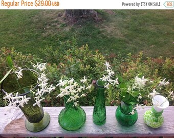 Summer Sale Lot of Five Vintage Green Glass Vases Shades of Green