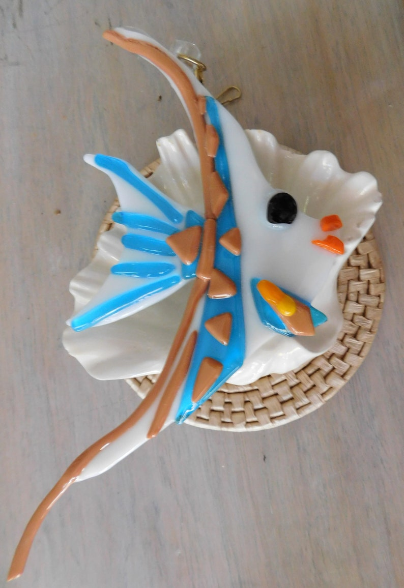 White Glass Angel Fish with Light Brown and Blue Stripes SuncatcherFan PullWall Decor Graceful Extra Large