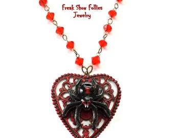 black widow spider necklace
