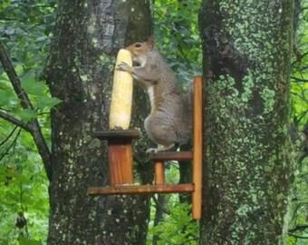 Solid Cedar Outdoor Squirrel Perch Feeder Table