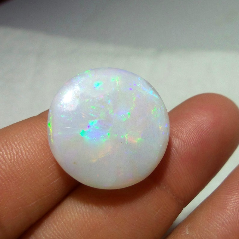 21 MM 18.3 Carat Natural White Base Red Green Multi Rainbow Fire Ethiopian Opal Round Shape Cabochon,Untreated Welo Opal Gemstone