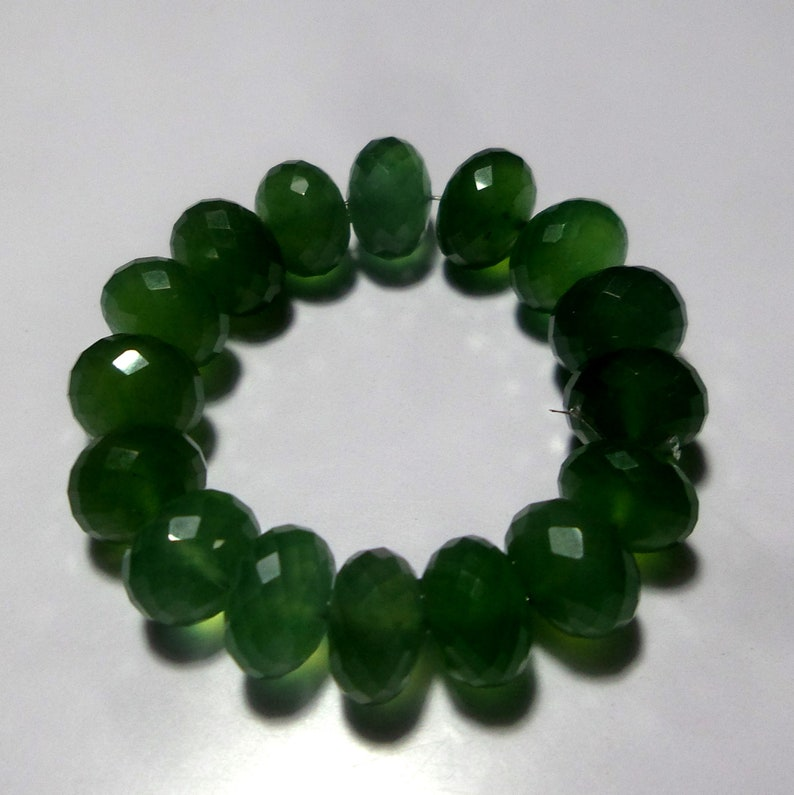 16 Beads 4 Inch Long Strand Beads 9 MM 55 Carat Untreated Natural Rare Green Micro Faceted Serpentine Gemstone Rondelle Beads