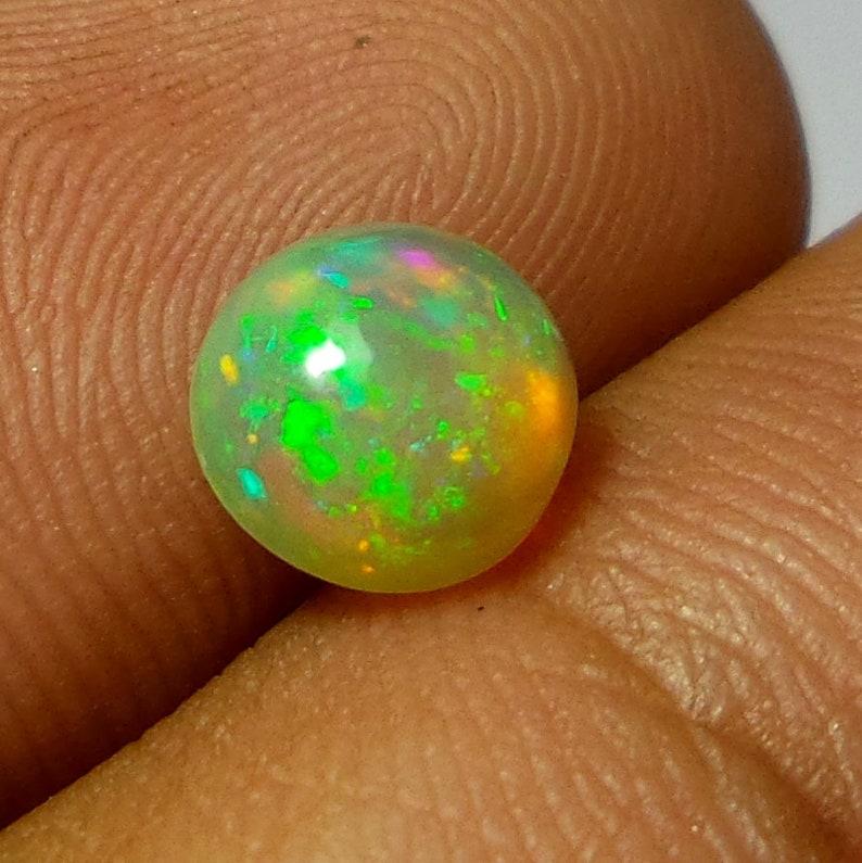 Rare Ethiopian Opal Cabochon 1.1 Carat 7.2x7.2x4.3 MM Natural Ethiopian Welo Fire Opal Round Shape Cabochon