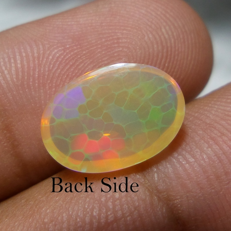 2.7 Carat 11.7x8.7x5.2 MM Natural Ethiopian Welo Fire Opal Oval Shape Cabochon Opal Loose Gemstone