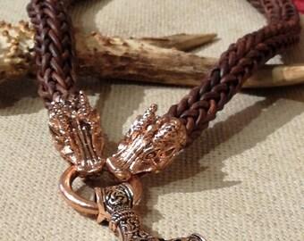 Huge leather Viking knit Mjölnir necklace