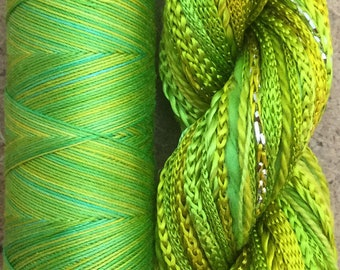 Two of a Kind, No.50 Lime and Lemon, Hand Dyed Thread Selection, Embroidery Thread, Machine Quilting Thread, Machine Embroidery
