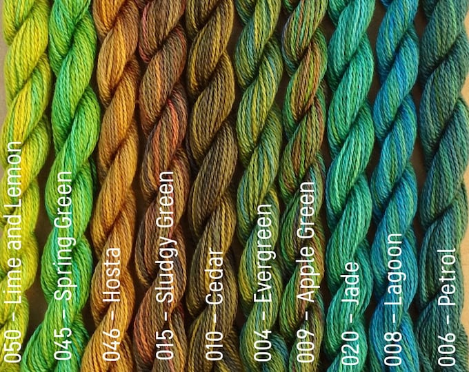 Featured listing image: FINE COTTON, Hand Dyed Embroidery Thread, Cotton Thread, Cotton Yarn, Embroidery Floss, 16/2 wt. (Equivalent to Perle 12)
