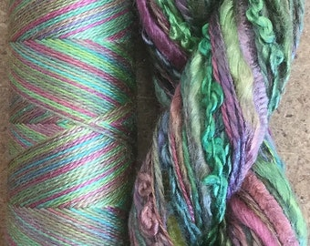 Silk Harmony, No. 09 Apple, Mulberry Silk Combination - Hand Dyed Hand and Machine Threads in a combination Pack