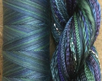 Hand Dyed Cotton and Viscose Thread Selection plus Machine Cotton, Two of a Kind No.53 Ocean, Creative Embellishment Threads