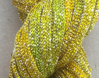 Hand Dyed Sparkle Viscose Ribbon, Embroidery, Gold and Lime