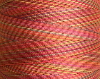 Orange, Red, Yellow Ochre Mix, Hand Dyed Cotton Machine Quilting Thread, Machine Embroidery Thread,  Eygyptian Cotton 40wt. 750m (820yds)