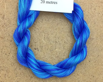 Viscose Chainette 6/167, Colour No.03 Sky, Hand Dyed Thread, Rayon Ribbon, 20 metres