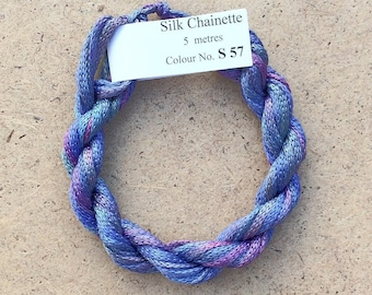 Silk Chainette No.57 Oil Slick, Hand Dyed Embroidery Thread, Artisan Thread, Textile Art