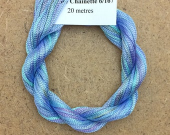 Viscose Chainette 6/167, Colour No.80 Sky Blue Pink Hand Dyed Thread, Rayon Ribbon, 20 metres