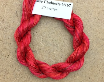 Viscose Chainette 6/167, Colour No.14 Christmas, Hand Dyed Thread, Rayon Ribbon, 20 metres