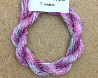 Viscose Chainette 6/167, Colour No.30 Light Candy Floss, Hand Dyed Thread, Rayon Ribbon, 20 metres