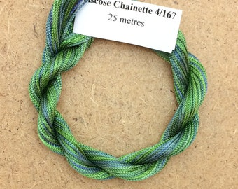 Viscose Chainette 4/167, Colour No.55 Holly, Hand Dyed Thread, Rayon Ribbon, 25 metres