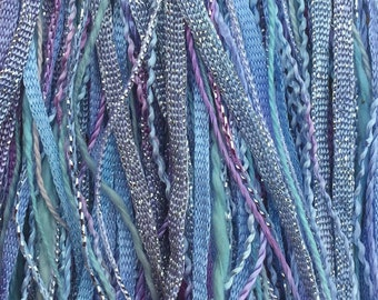 Baby Blue, One Off Special, Limited Edition, Hand Dyed Embroidery Thread, Textured Threads, Variegated Threads, Mixed Media Supply