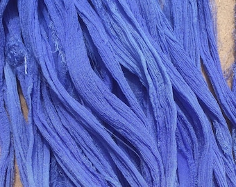 Sari Silk Chiffon Ribbon, Crinkly Silk, Lilac Blue, Hand Dyed Silk Chiffon Ribbon, Sari Ribbon, ref.35