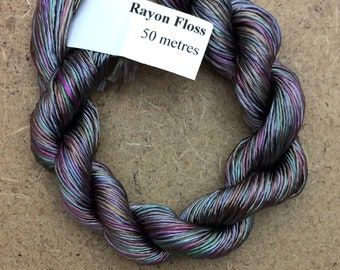 Rayon Floss, Hand Dyed 4 Strand Viscose Floss, Multicoloured, Hand Dyed Viscose Floss, Embroidery Thread, Braidmaking, Kumihimo