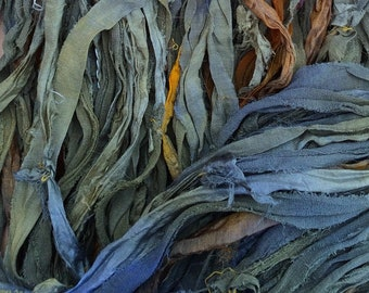 No.04 Evergreen, Sari Ribbon Hand Dyed, Silk Ribbon, Wide Silk Ribbon