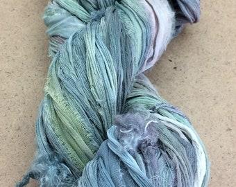 Sari Silk Chiffon Ribbon, Crinkly Silk, No.56 Pebble, Hand Dyed Silk Chiffon Ribbon, Sari Ribbon, ref.35