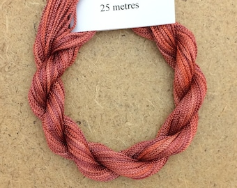 Viscose Chainette 4/167, Colour No.12 Terra Cotta, Hand Dyed Thread, Rayon Ribbon, 25 metres