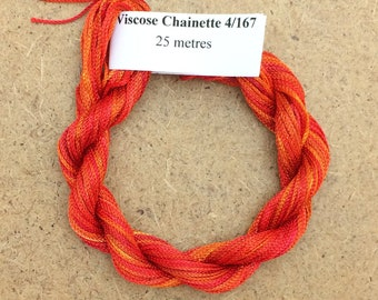 Viscose Chainette 4/167, Colour No.13 Sunset, Hand Dyed Thread, Rayon Ribbon, 25 metres