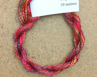 Hand Dyed 3600/2 Viscose Cord, Colour No.02 Antique Red, Rayon II, Embroidery, Thread, Needlepoint