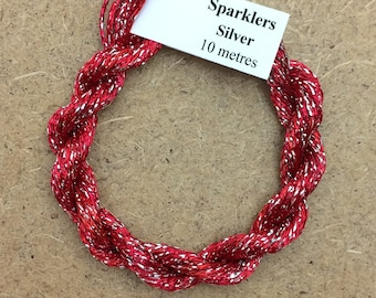 4/167 Viscose Sparkle Chainette with Silver Lurex, No.14 Christmas, 10m (11 yards) skein, Embroidery Thread